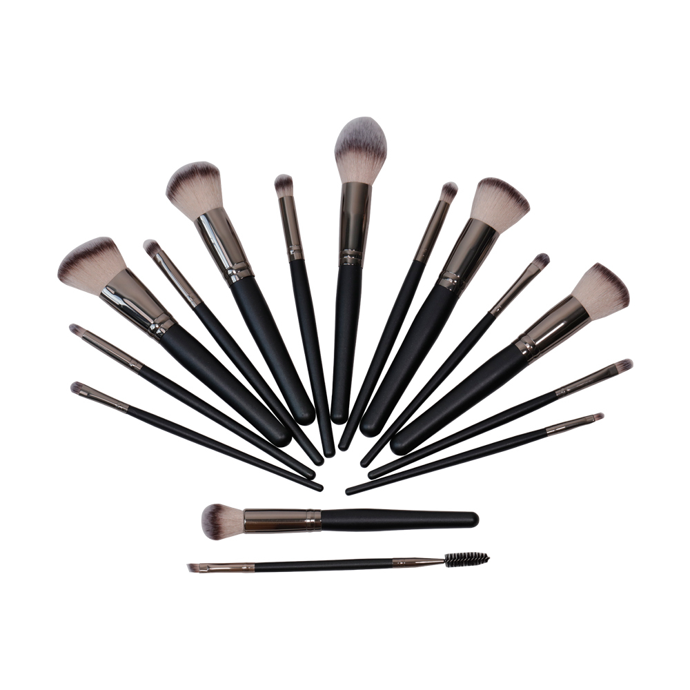 15Pcs premium black makeup brush
