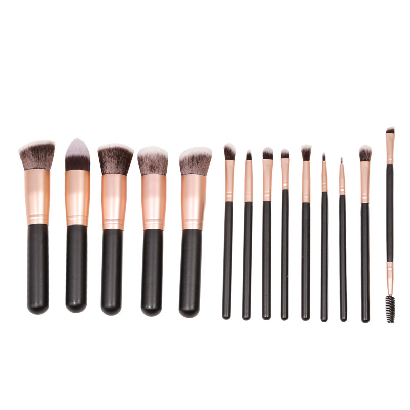 Kabuki 14 pieces makeup brush set with synthetic hair wholesale
