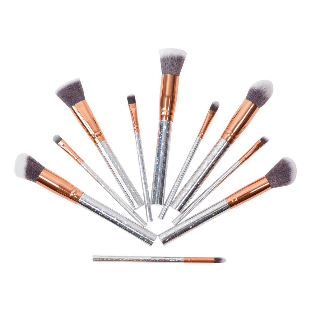 Factory wholesale 10 makeup brush set with aluminum alloy handle