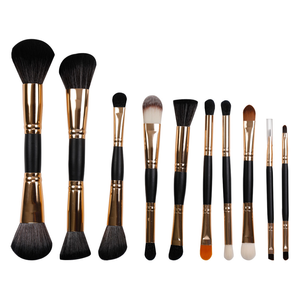 Black 10 pieces synthetic hair makeup brush kit with bag wholesale