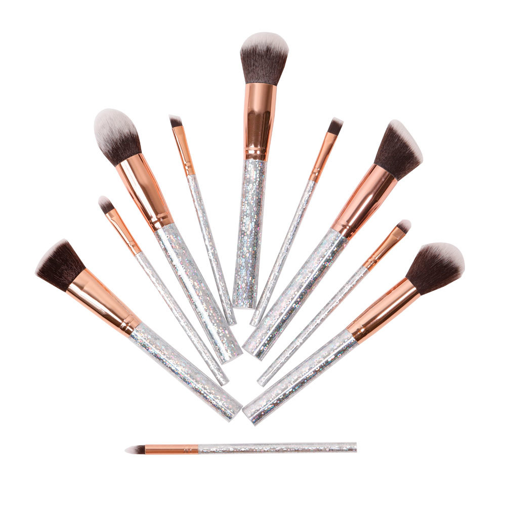 Bling Crystal 10piece smakeup brush set with synthetic hair wholesale