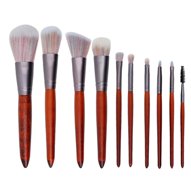 Top quality red 10 pieces makeup brush set with synthetic hair