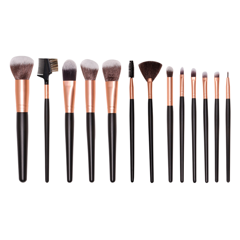 Essential 12Pcs black makeup brushes set hot sale