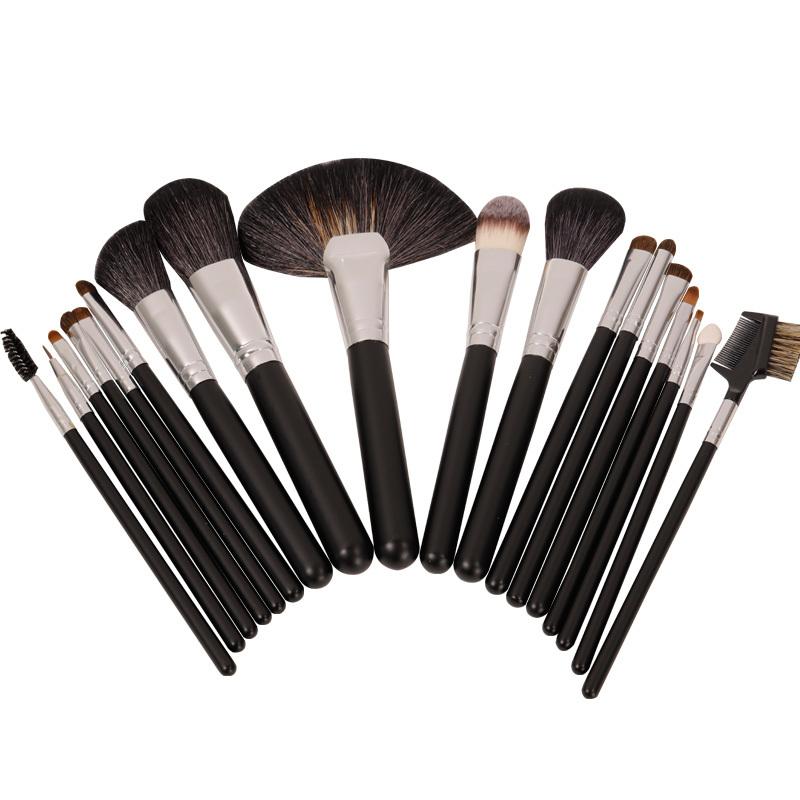 Factory wholesale 18 makeup brush set with aluminum alloy handle