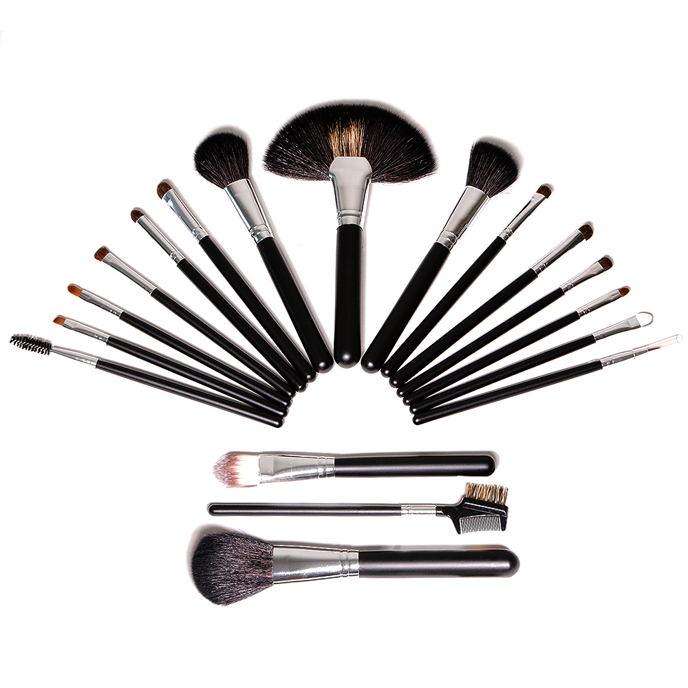 black 18 pieces synthetic hair makeup brush kit with bag wholesale