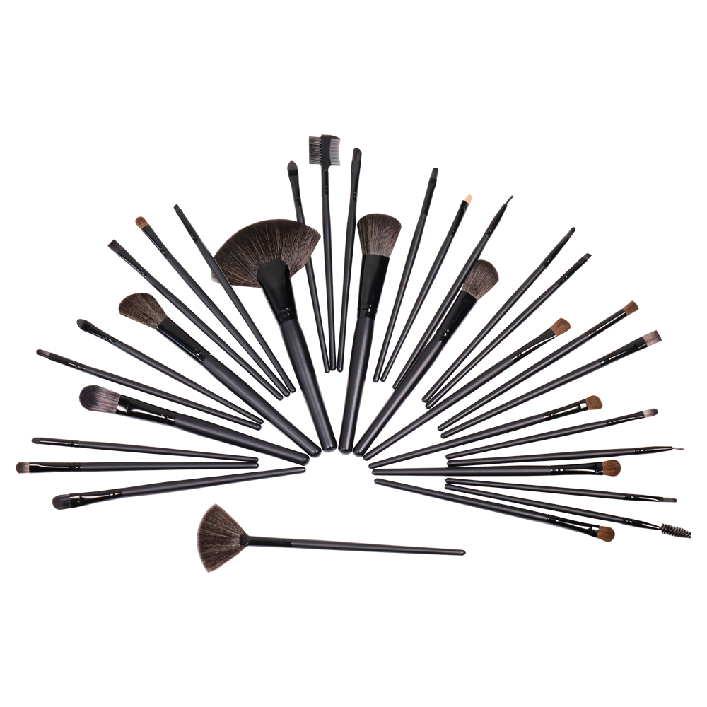 20 Pieces amber wood handle soft synthetic fiber hair makeup brushes wholesale