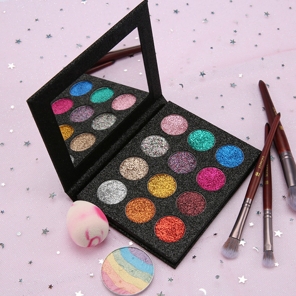 Custom 12 colors eyeshadow glitter palette packaging manufacturer in China